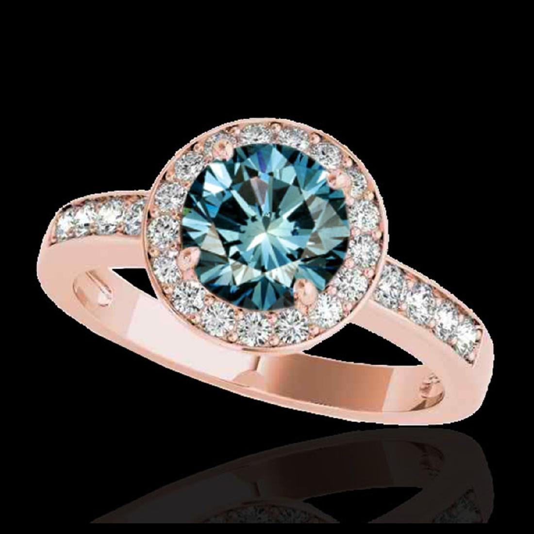 1.40 ctw SI Fancy Blue Diamond Solitaire Halo Ring 10K