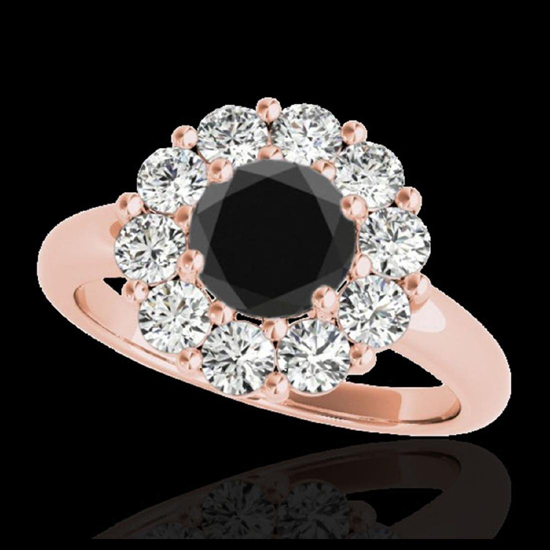 2.09 ctw VS Black Diamond Solitaire Halo Ring 10K Rose