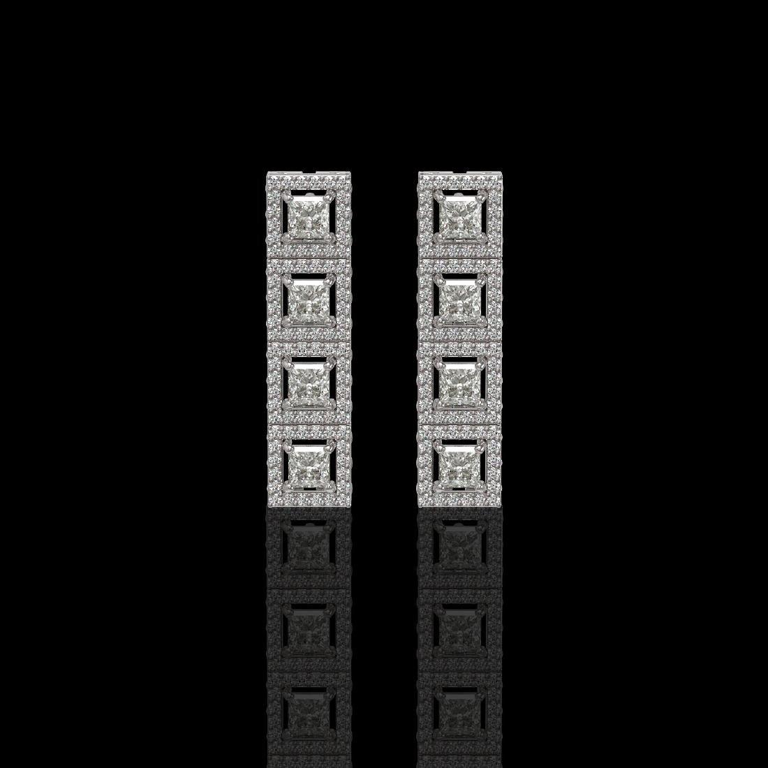 4.01 ctw Princess Diamond Earrings 18K White Gold -