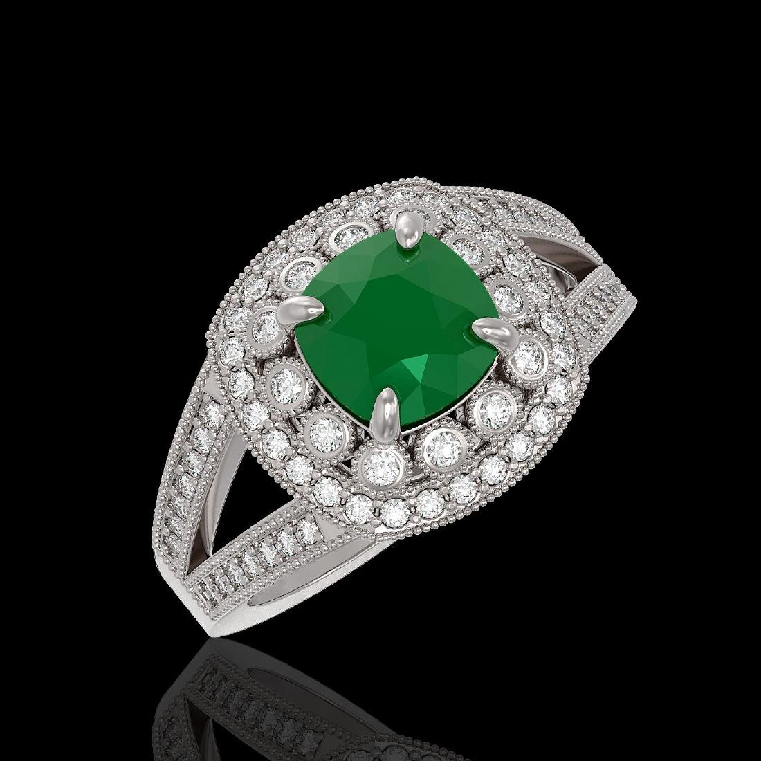 2.69 ctw Emerald & Diamond Ring 14K White Gold -