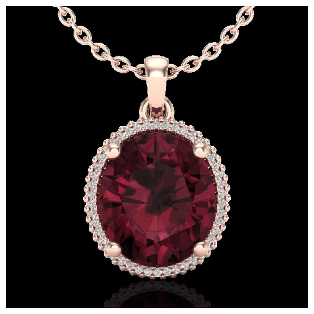 11 ctw Garnet & VS/SI Diamond Necklace 14K Rose Gold -