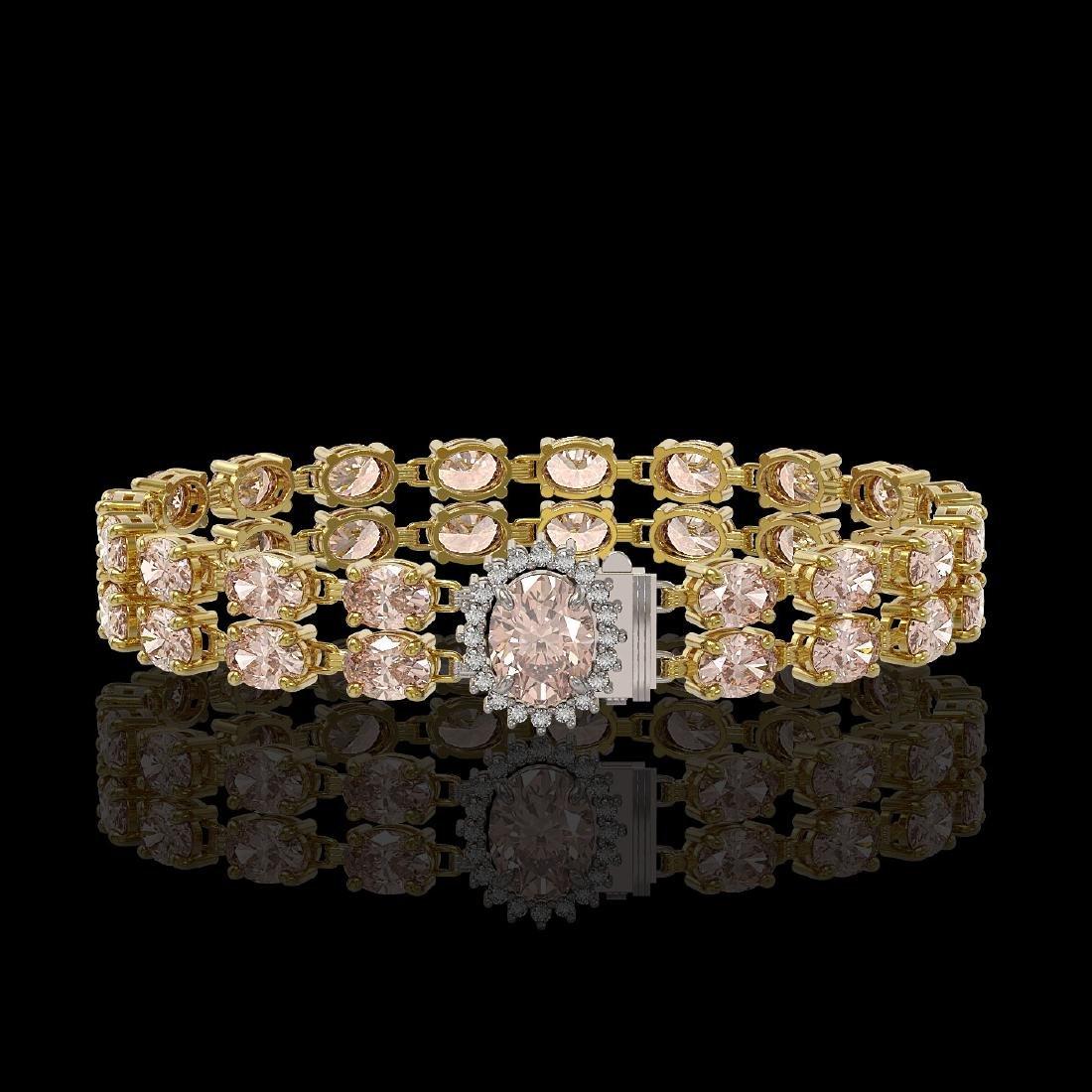 16.5 ctw Morganite & Diamond Bracelet 14K Yellow Gold -
