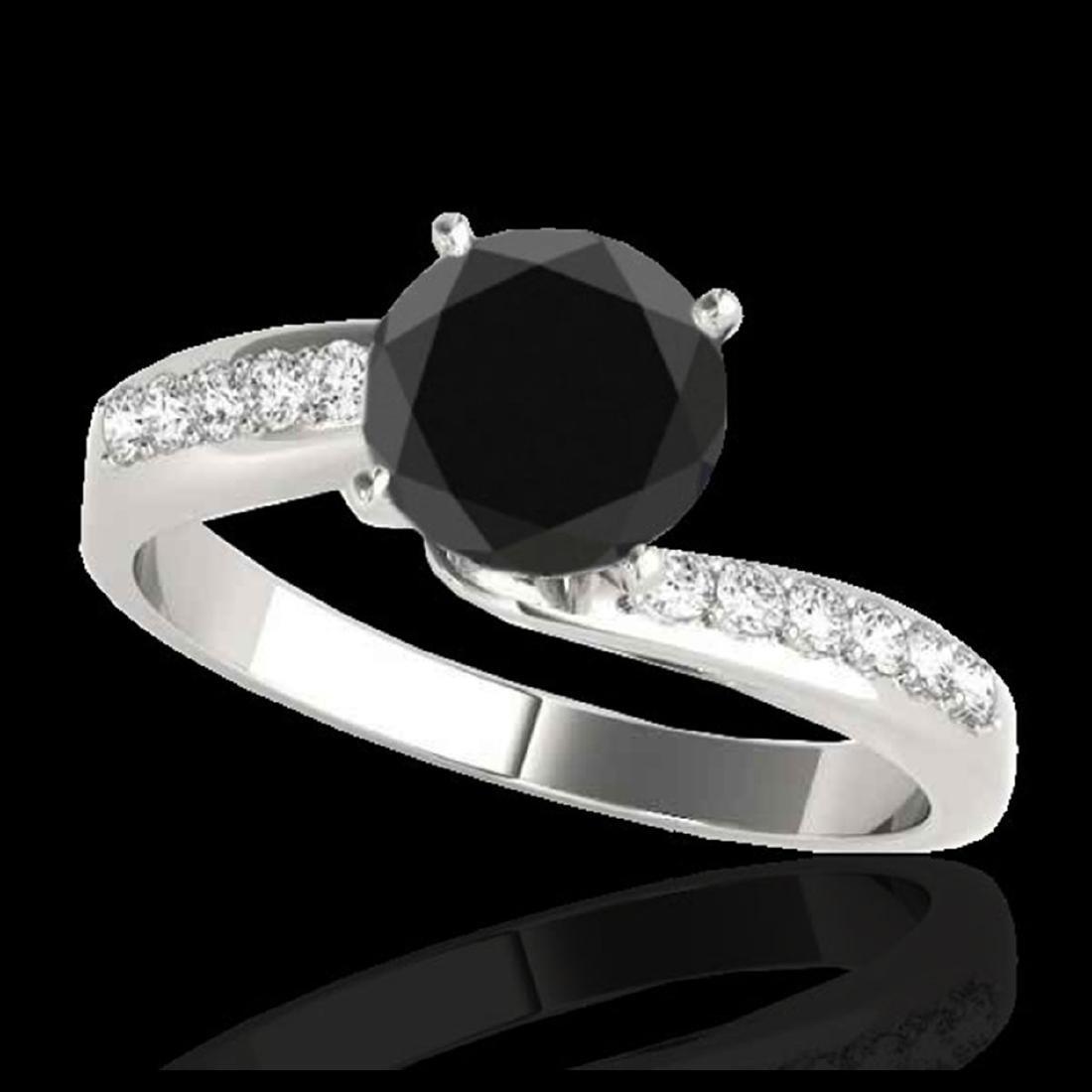 1.40 ctw VS Black Diamond Bypass Solitaire Ring 10K