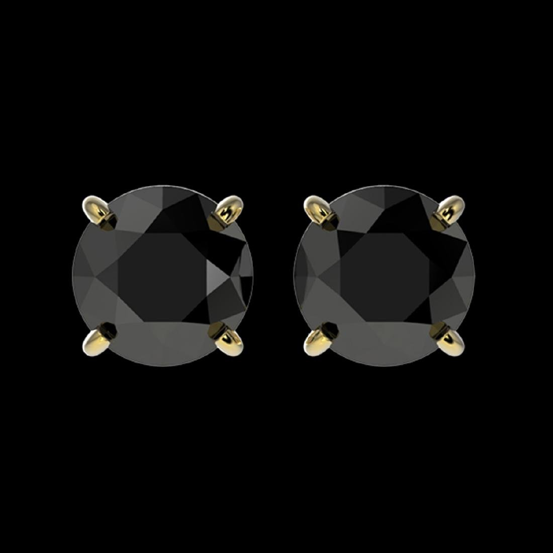 1.61 ctw Fancy Black Diamond Solitaire Stud Earrings