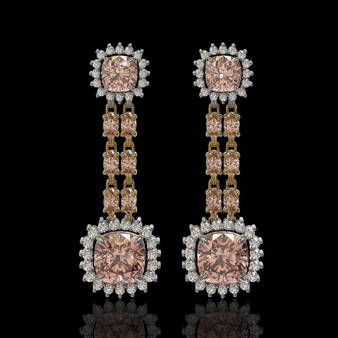 17.42 ctw Morganite & Diamond Earrings 14K Yellow Gold