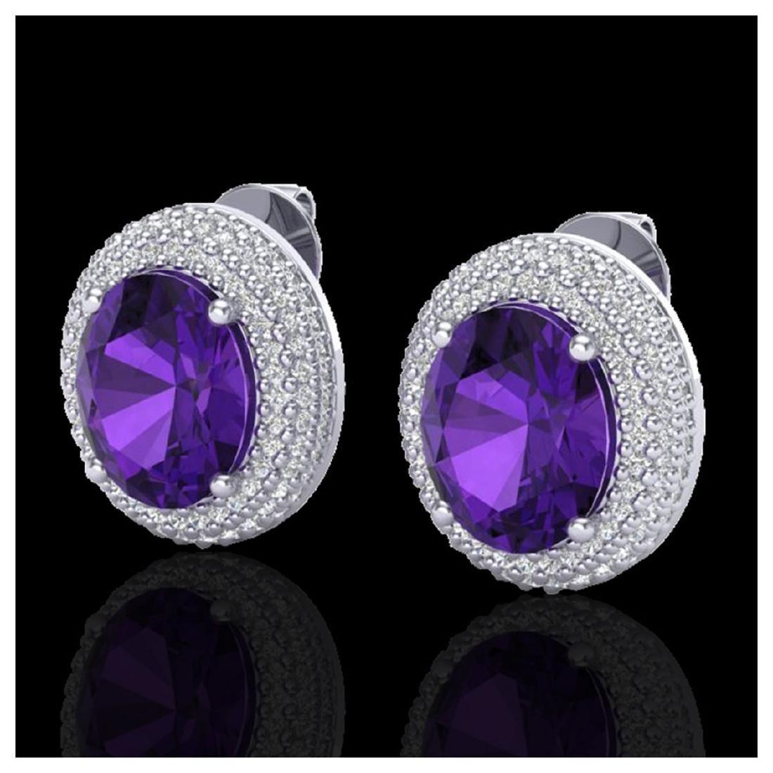 8 ctw Amethyst & VS/SI Diamond Earrings 18K White Gold
