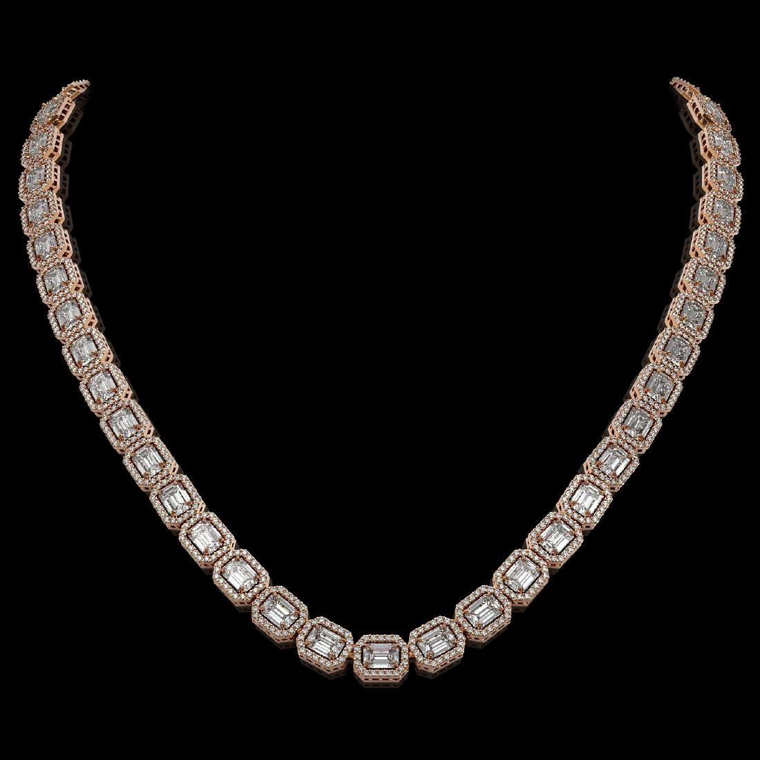 33.10 ctw Emerald Diamond Necklace 18K Rose Gold -