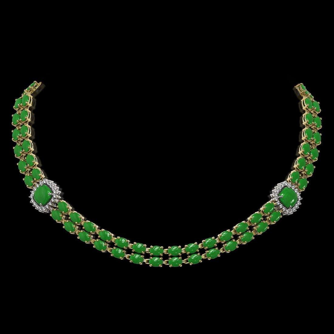 29.39 ctw Jade & Diamond Necklace 14K Yellow Gold -