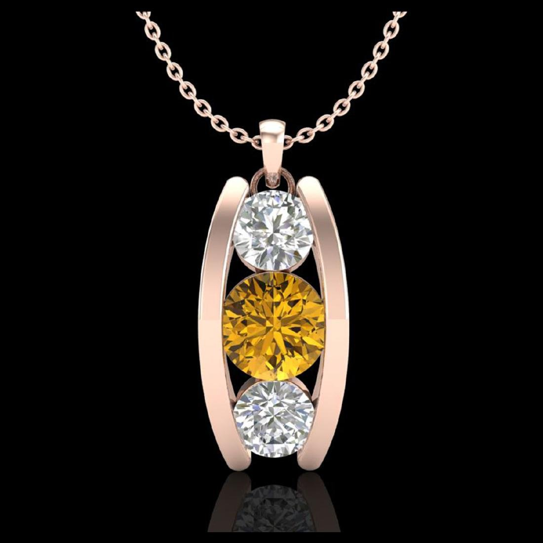 1.07 ctw Intense Fancy Yellow Diamond Art Deco Necklace