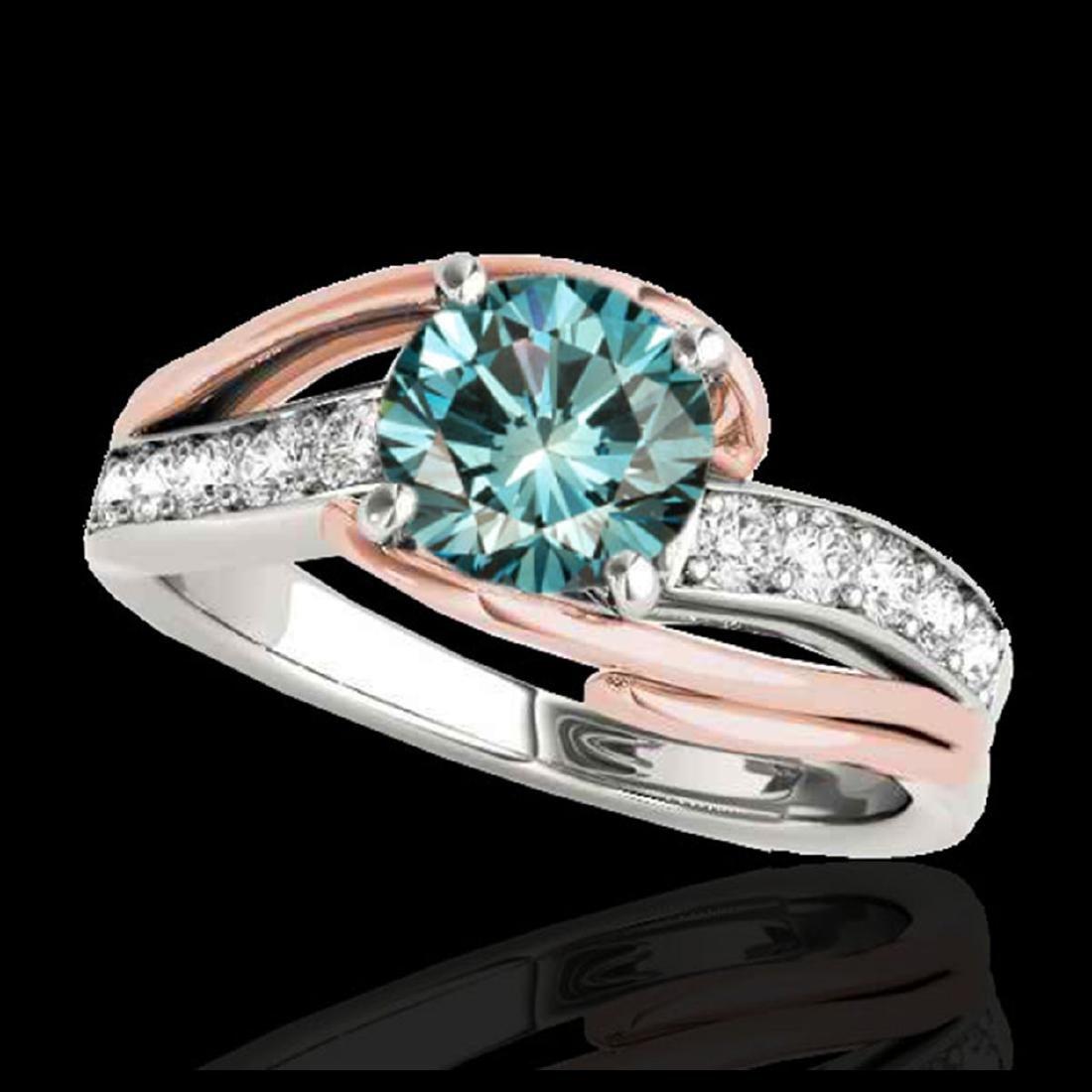1.25 ctw SI Fancy Blue Diamond Bypass Ring 10K White &