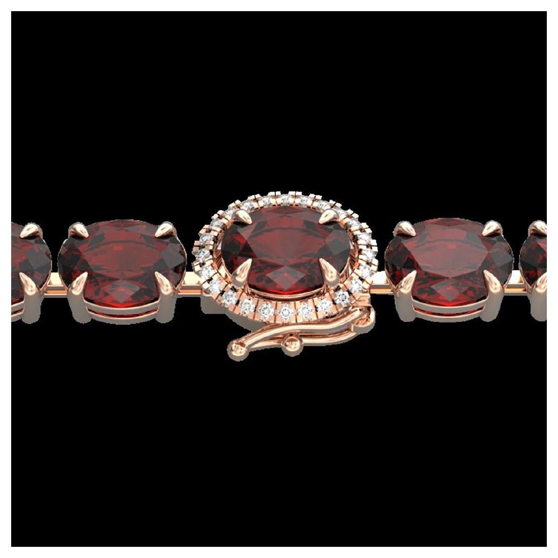 32 ctw Garnet & VS/SI Diamond Eternity Bracelet 14K