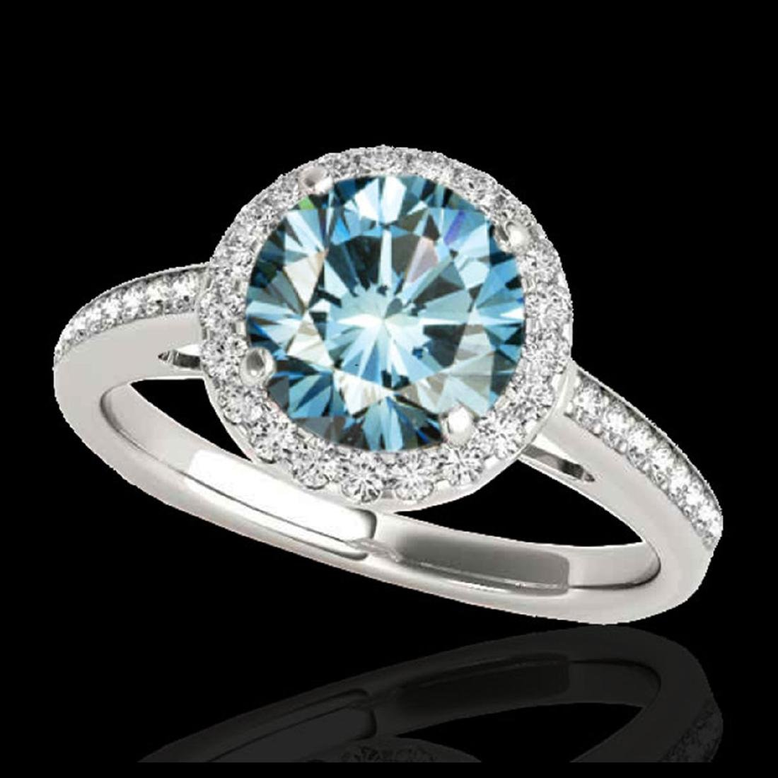 1.30 ctw SI Fancy Blue Diamond Solitaire Halo Ring 10K