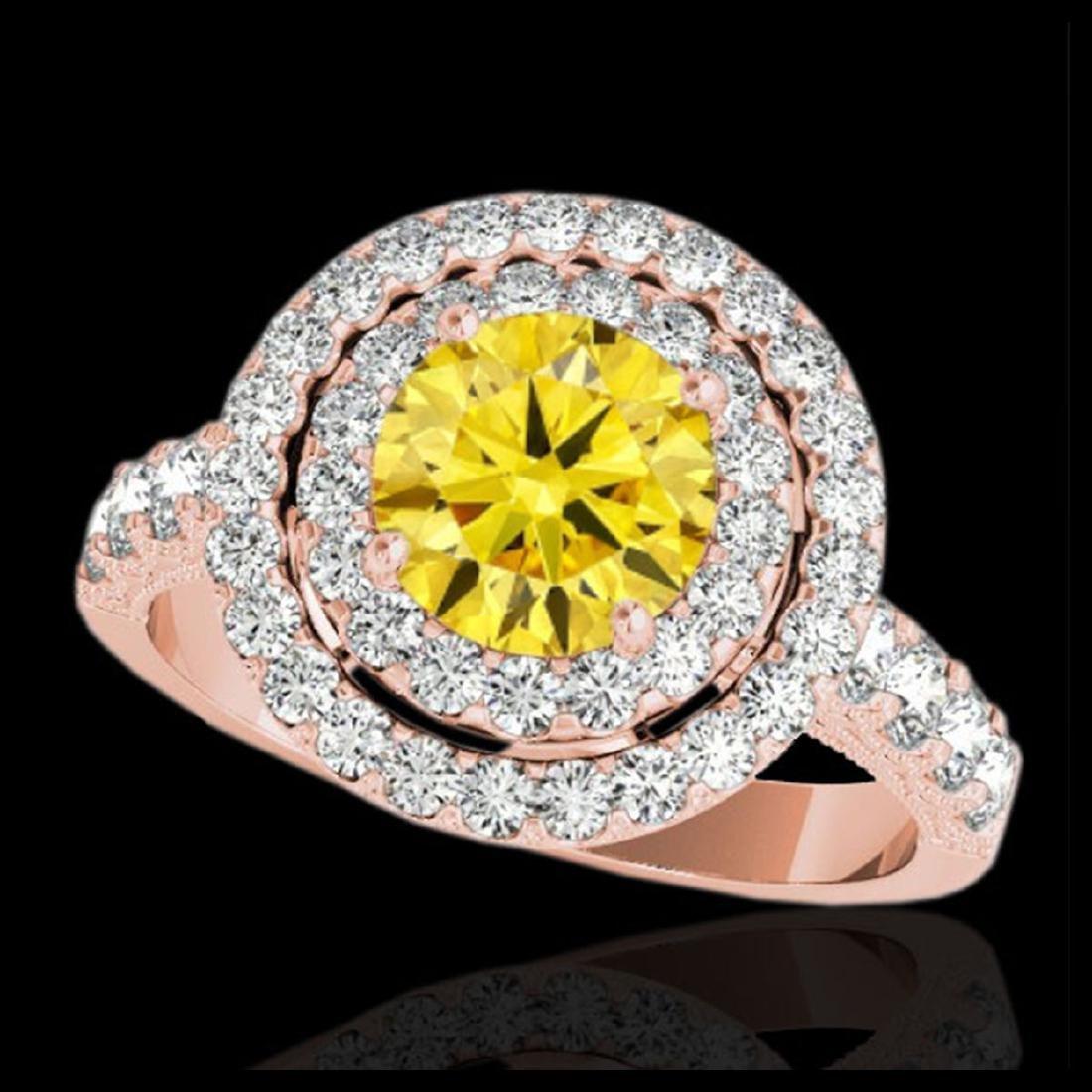 3 ctw SI/I Fancy Intense Yellow Diamond Halo Ring 10K