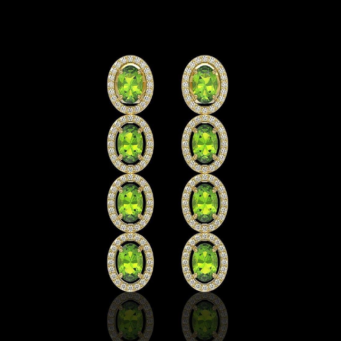 5.88 ctw Peridot & Diamond Halo Earrings 10K Yellow