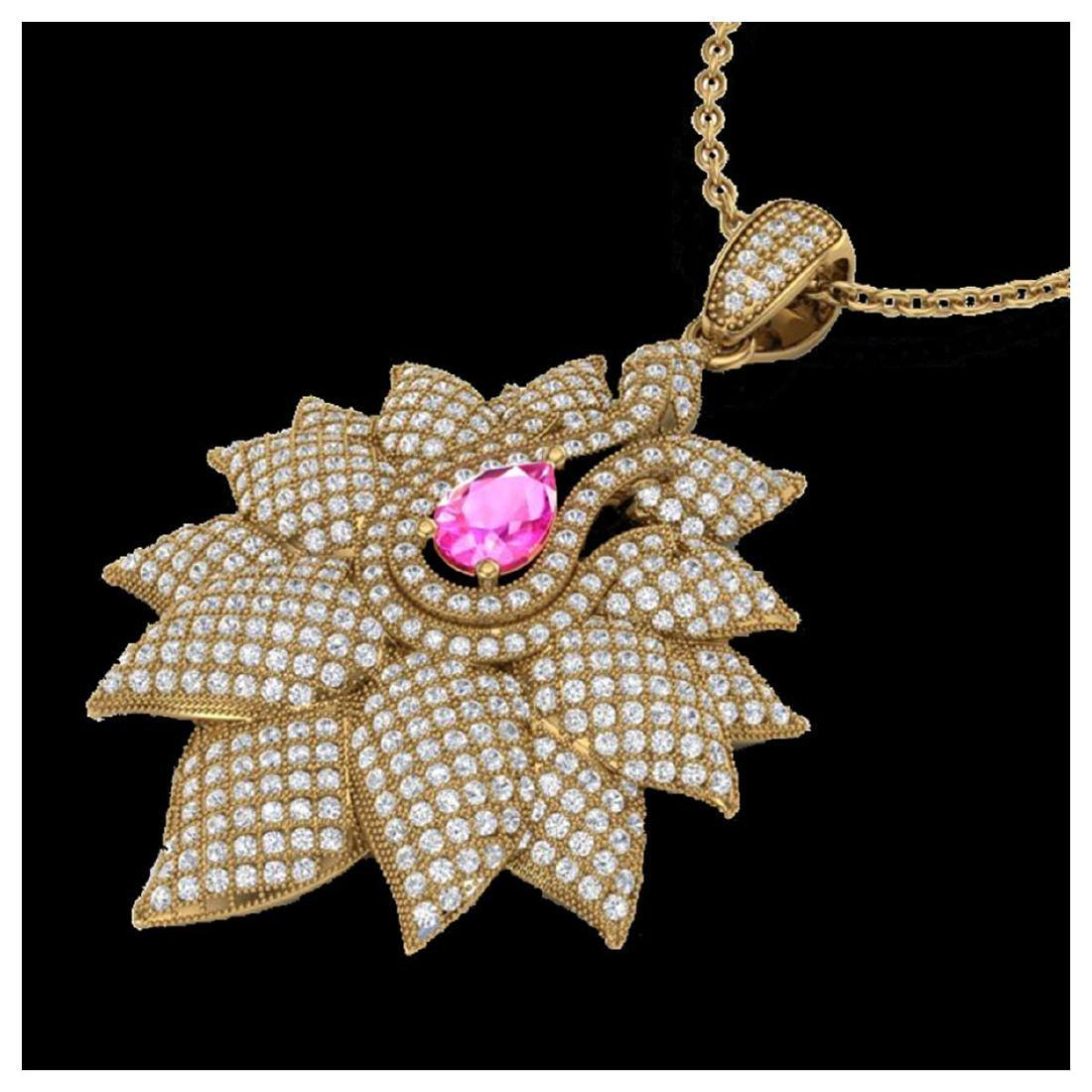 3 ctw Pink Sapphire & VS/SI Diamond Necklace 18K Yellow