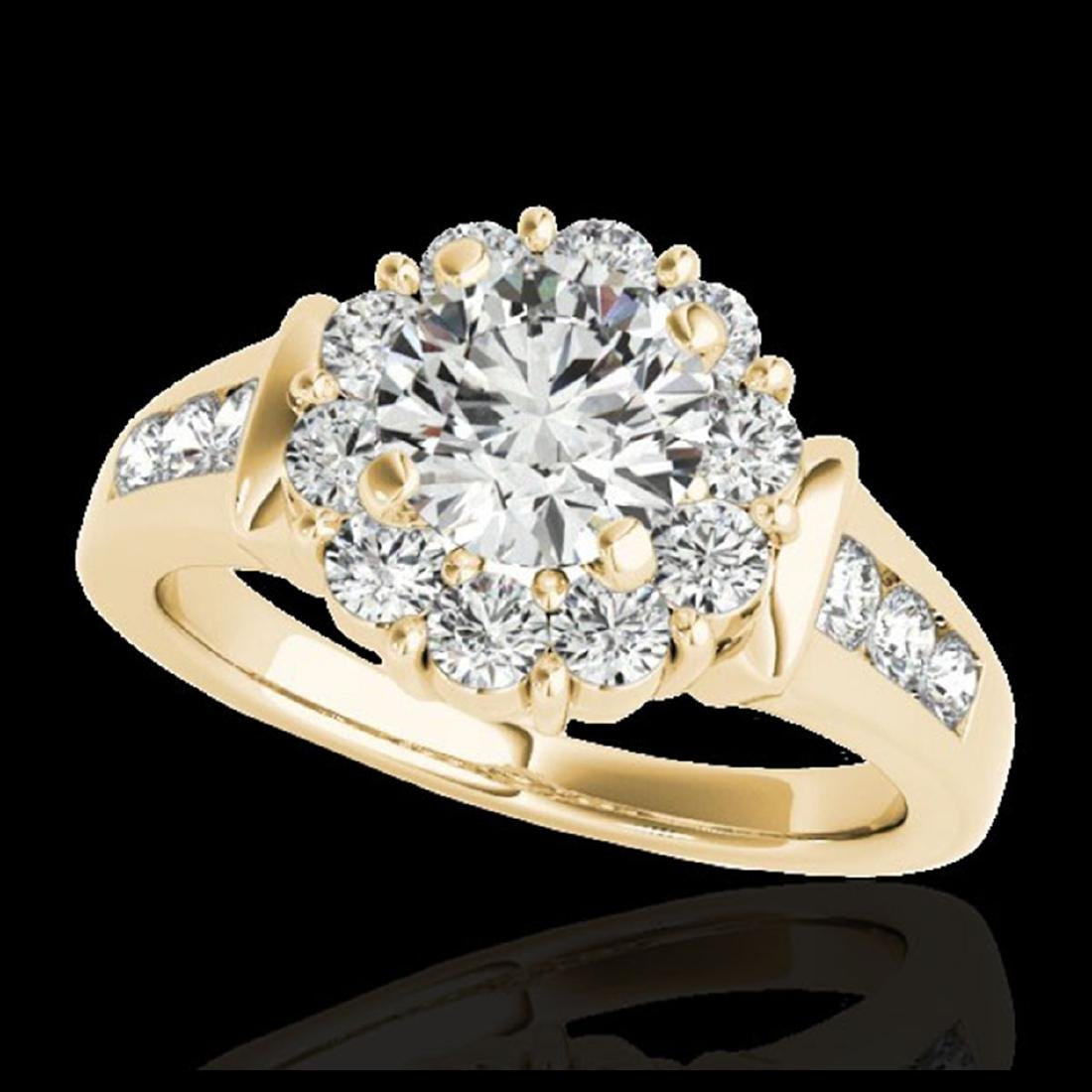1.90 ctw H-SI/I Diamond Solitaire Halo Ring 10K Yellow