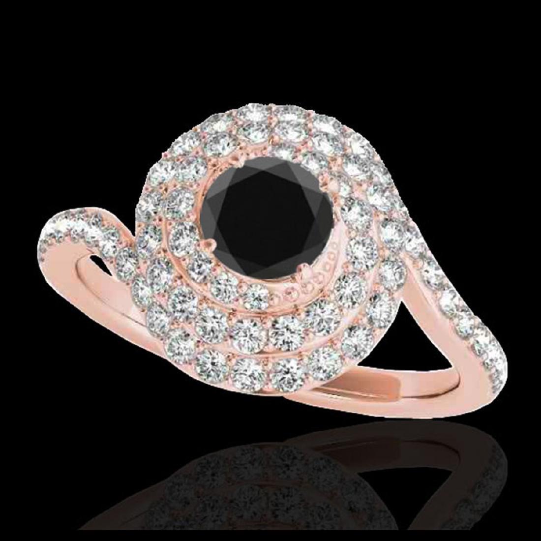 2.11 ctw VS Black Diamond Solitaire Halo Ring 10K Rose