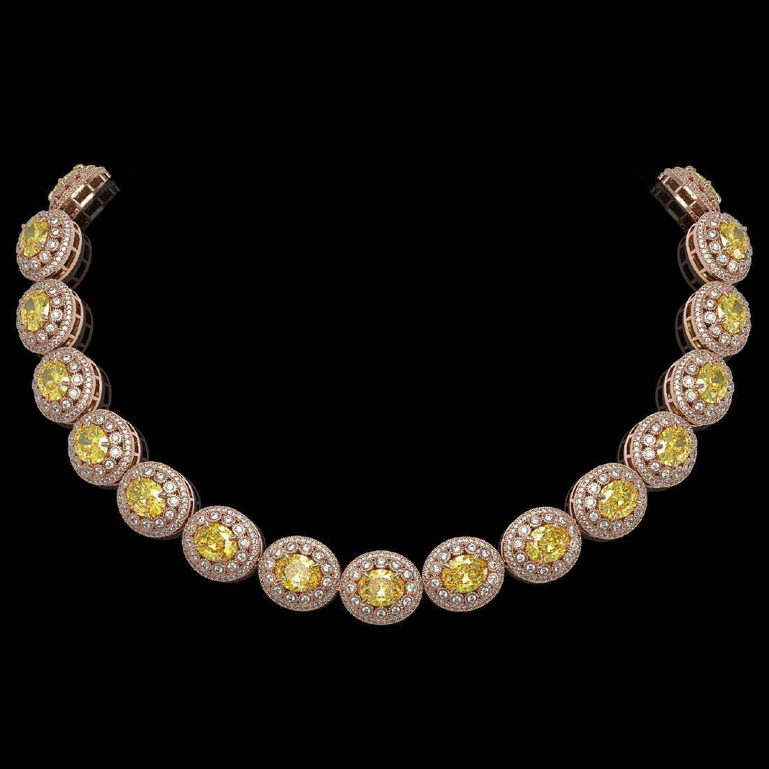 89.35 ctw Canary Citrine & Diamond Necklace 14K Rose
