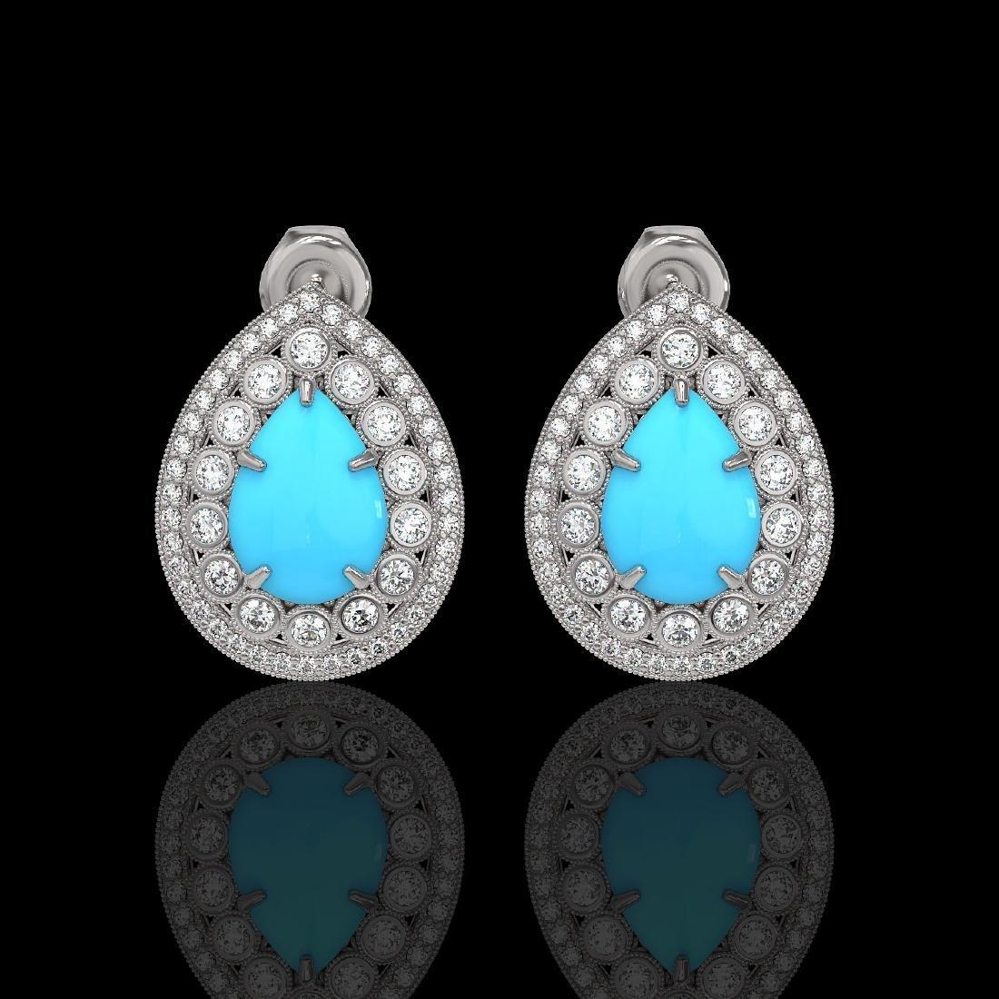 7.54 ctw Turquoise & Diamond Earrings 14K White Gold -