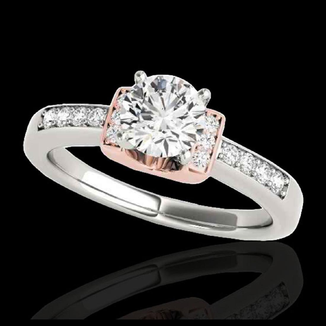 1.11 ctw H-SI/I Diamond Solitaire Ring 10K White & Rose