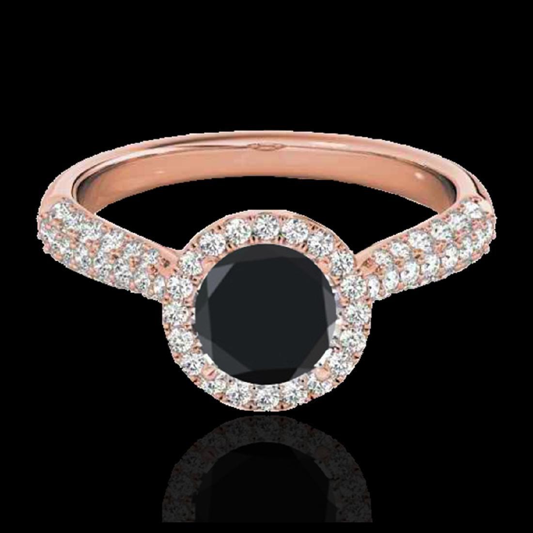 1.40 ctw VS Black Diamond Solitaire Halo Ring 10K Rose