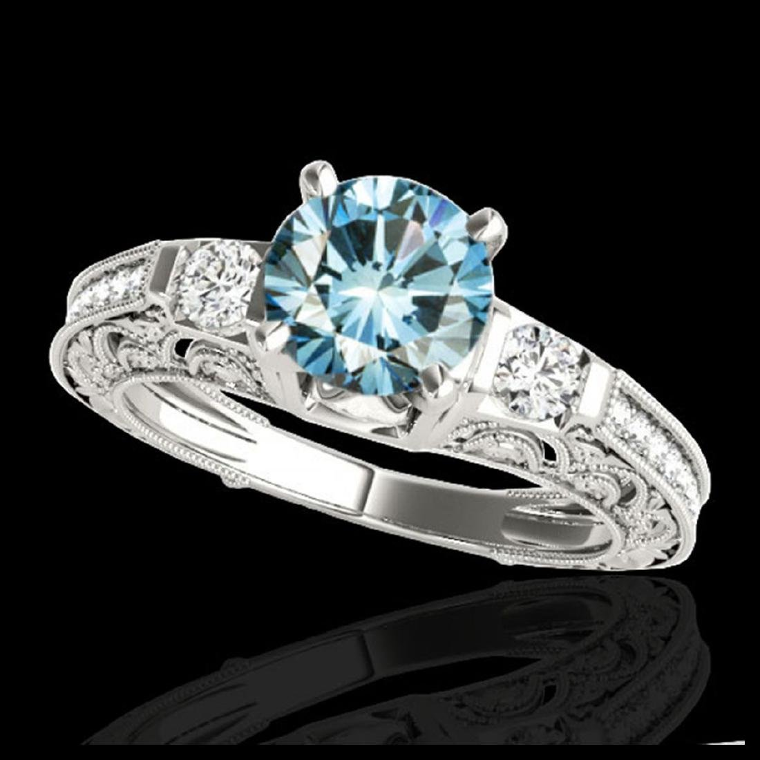 1.63 ctw SI Blue Diamond Solitaire Ring 10K White Gold