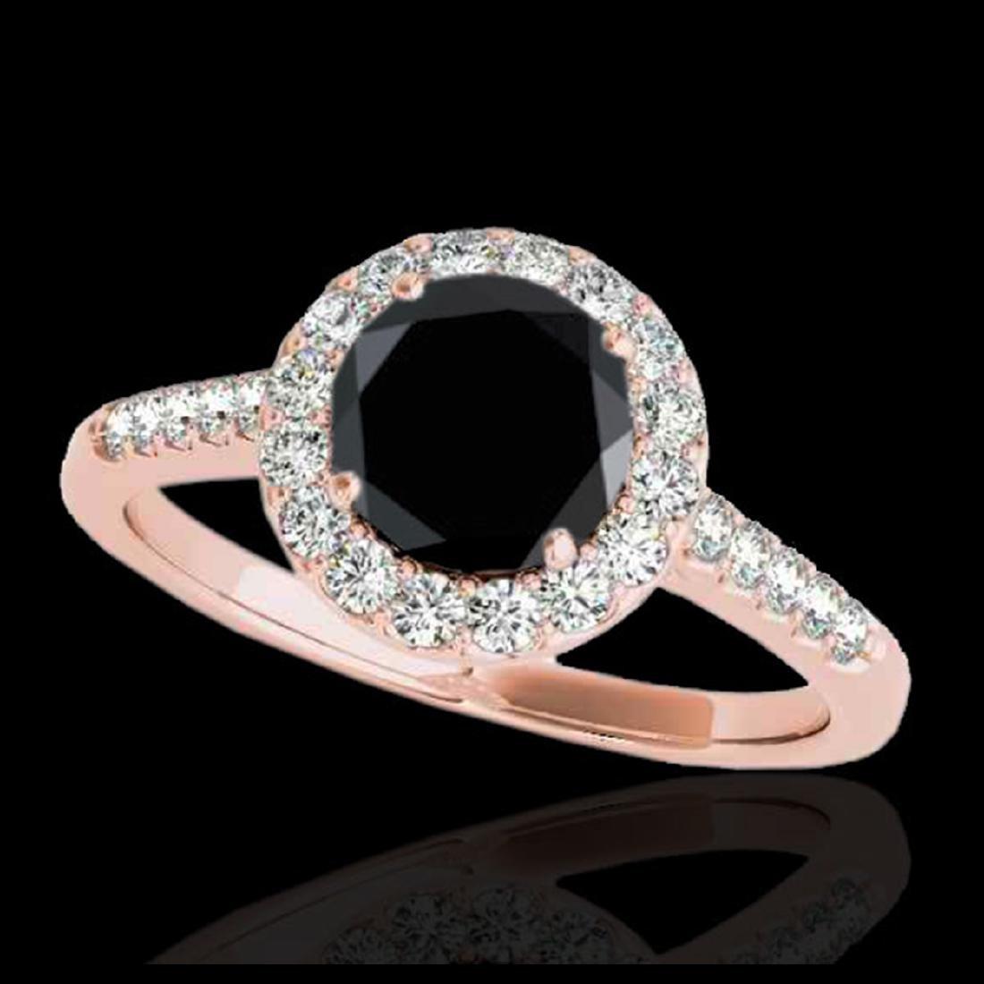 2 ctw VS Black Diamond Solitaire Halo Ring 10K Rose