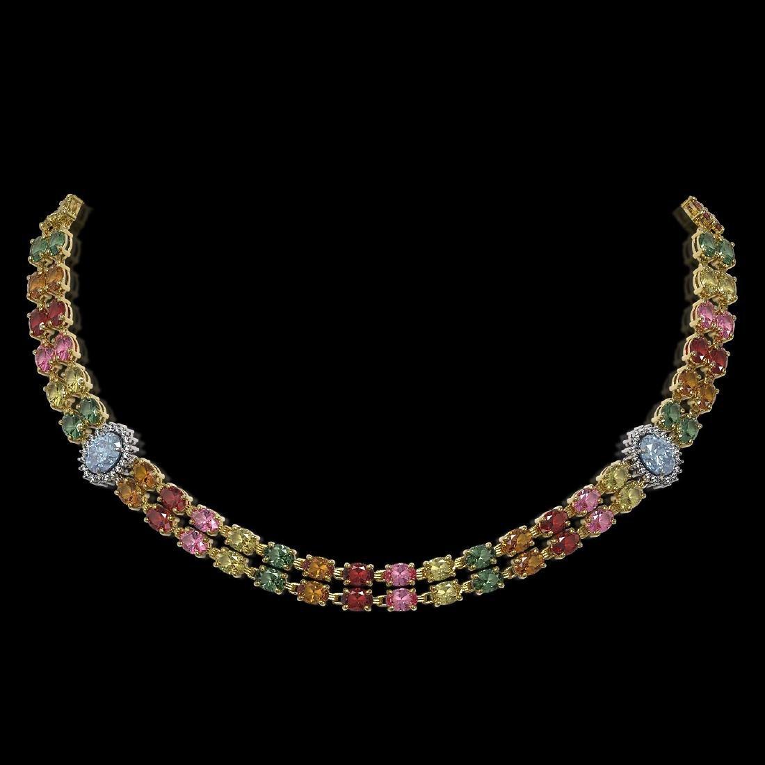 43.68 ctw Sapphire & Diamond Necklace 14K Yellow Gold -
