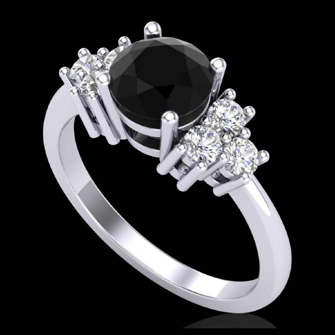 1.25 ctw Fancy Black Diamond Art Deco Ring 18K White