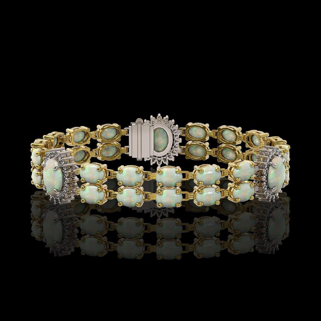 14.39 ctw Opal & Diamond Bracelet 14K Yellow Gold -