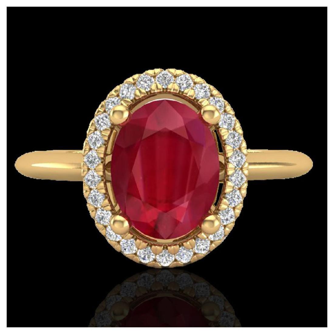 2 ctw Ruby & VS/SI Diamond Ring Halo 18K Yellow Gold -