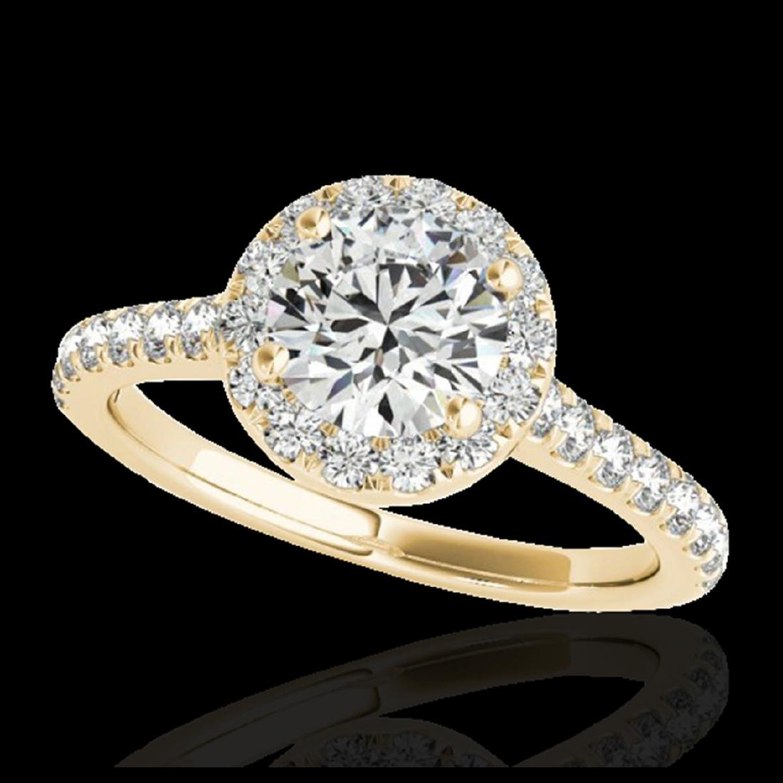 1.40 ctw H-SI/I Diamond Solitaire Halo Ring 10K Yellow