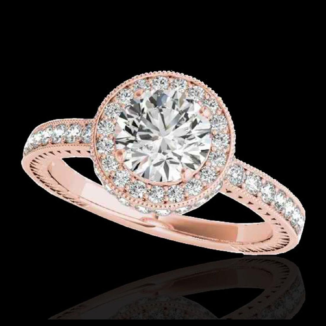 1.51 ctw H-SI/I Diamond Solitaire Halo Ring 10K Rose