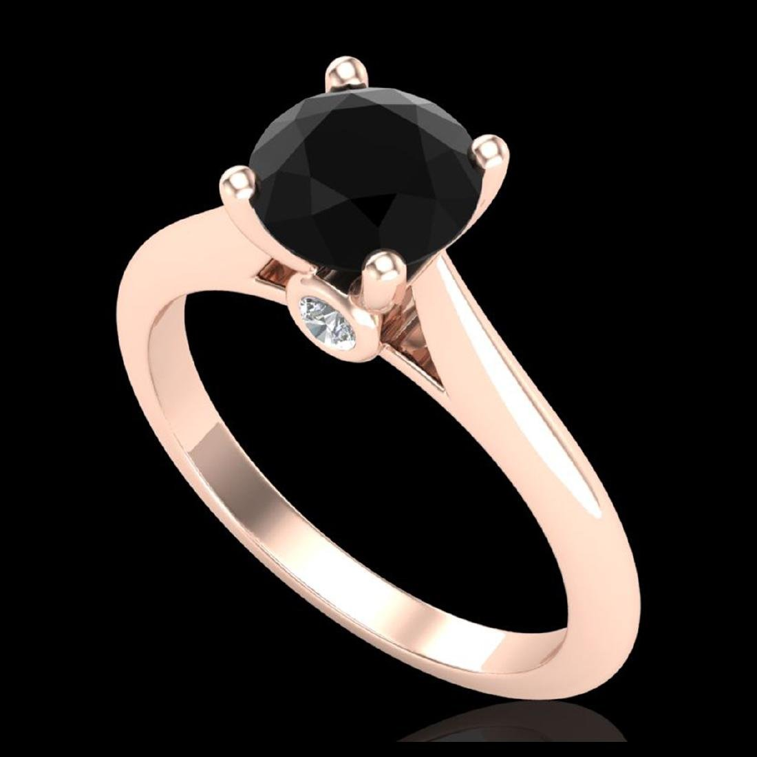 1.36 ctw Fancy Black Diamond Art Deco Ring 18K Rose