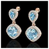 7 ctw Sky Blue Topaz  VSSI Diamond Earrings 10K Rose