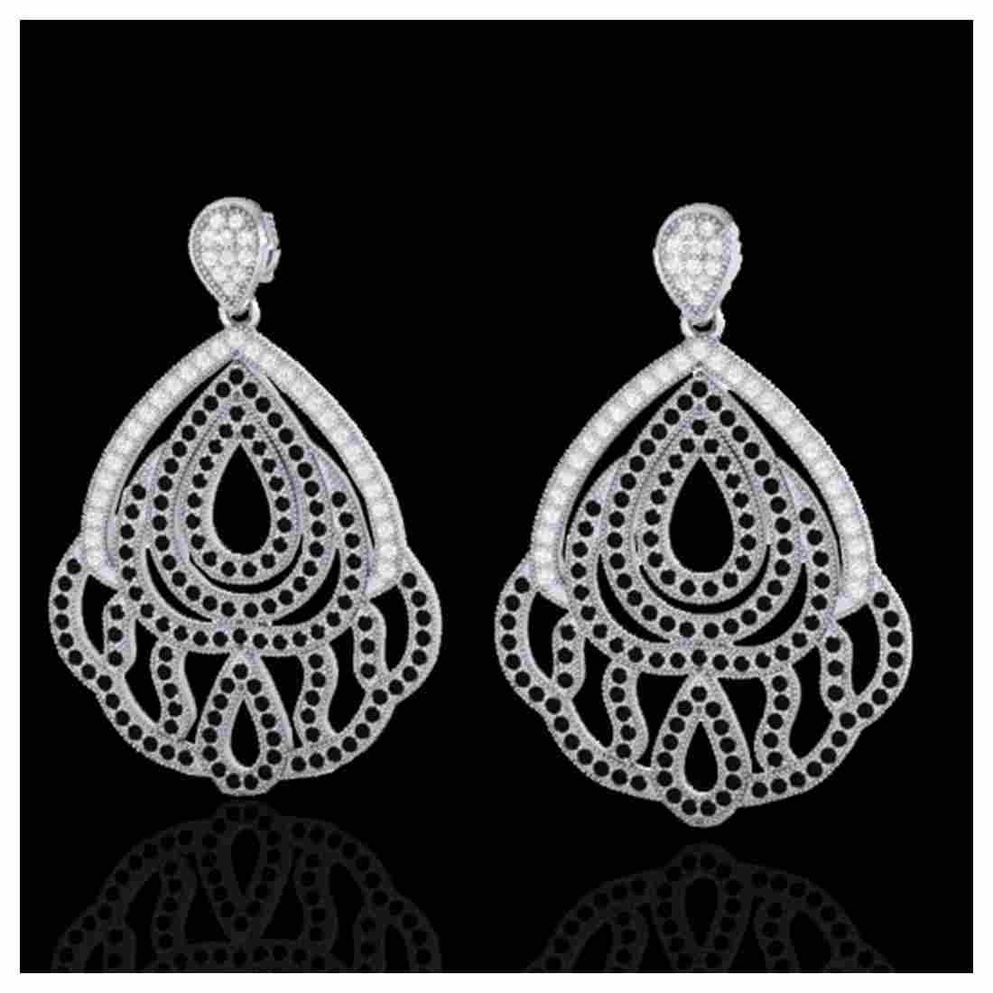 3 ctw Black & VS/SI Diamond Earrings 18K White Gold -