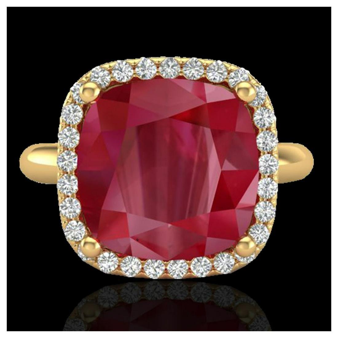 6 ctw Ruby & VS/SI Diamond Ring 18K Yellow Gold -