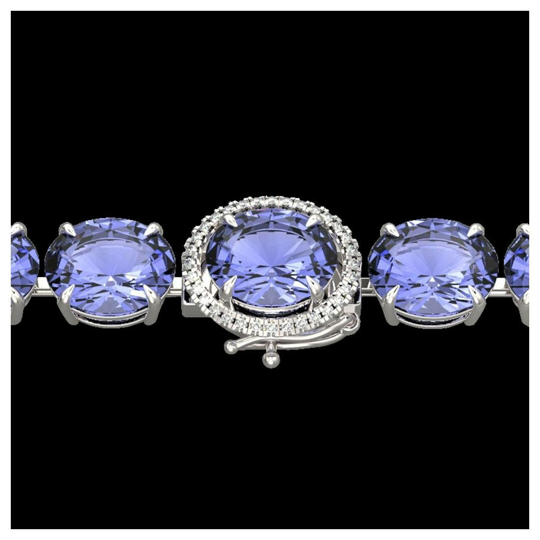 75 ctw Tanzanite & Diamond Bracelet 14K White Gold -