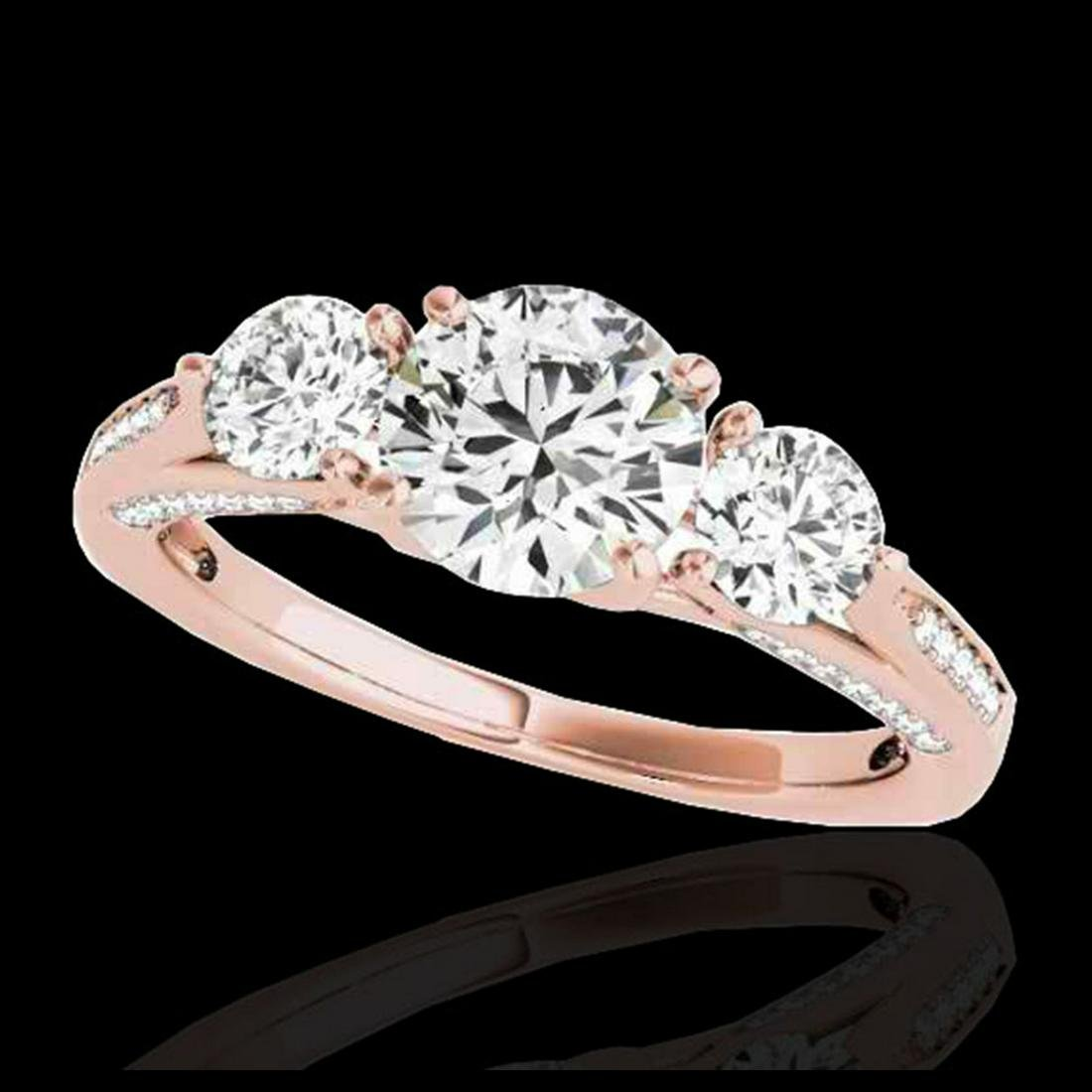1.75 ctw H-SI/I Diamond 3 Stone Ring 10K Rose Gold -