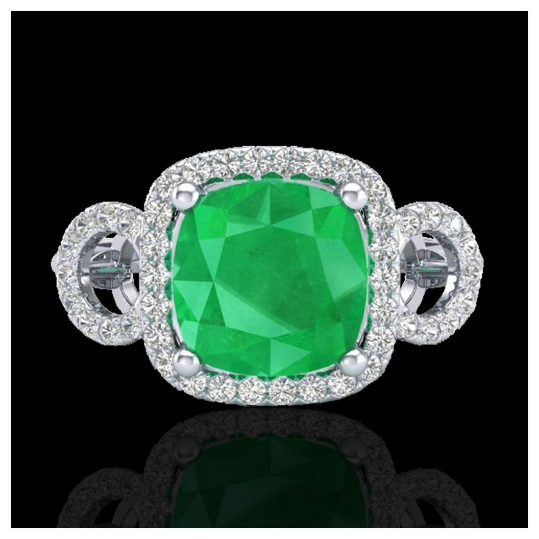 3.15 ctw Emerald & VS/SI Diamond Ring 18K White Gold -