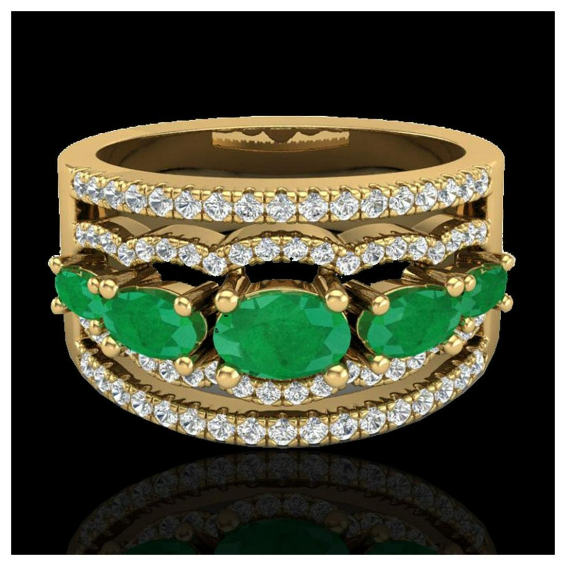 2.25 ctw Emerald & VS/SI Diamond Ring 10K Yellow Gold -