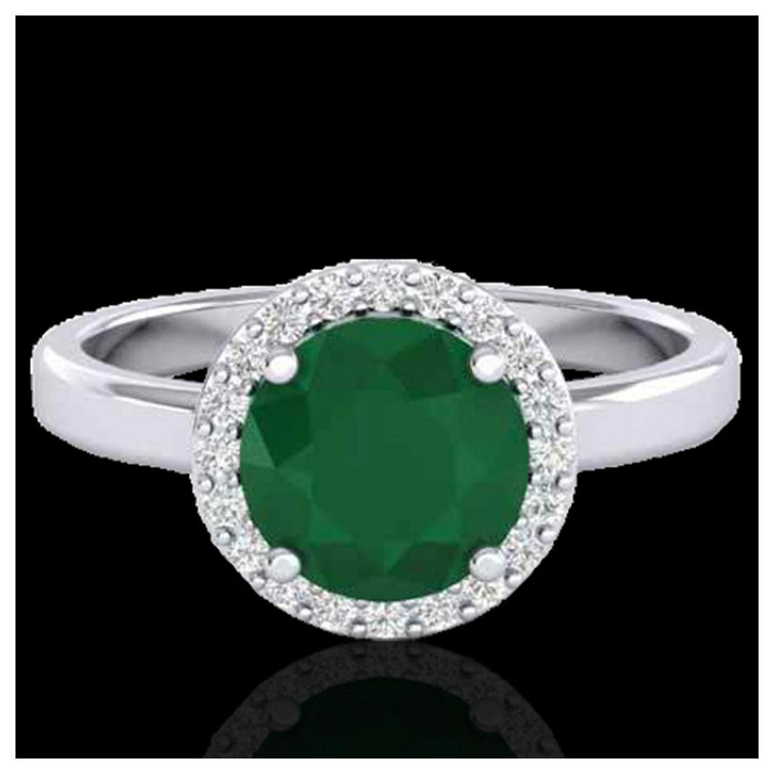2 ctw Emerald & Halo VS/SI Diamond Ring 18K White Gold