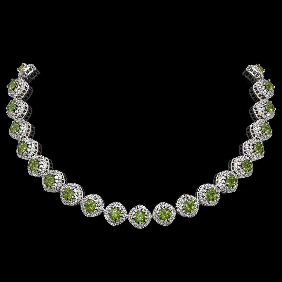 72.27 ctw Tourmaline & Diamond Necklace 14K White Gold