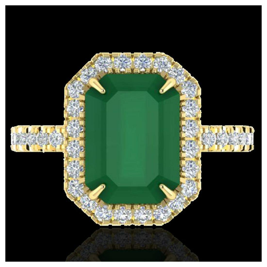 5.33 ctw Emerald And VS/SI Diamond Ring 18K Yellow Gold