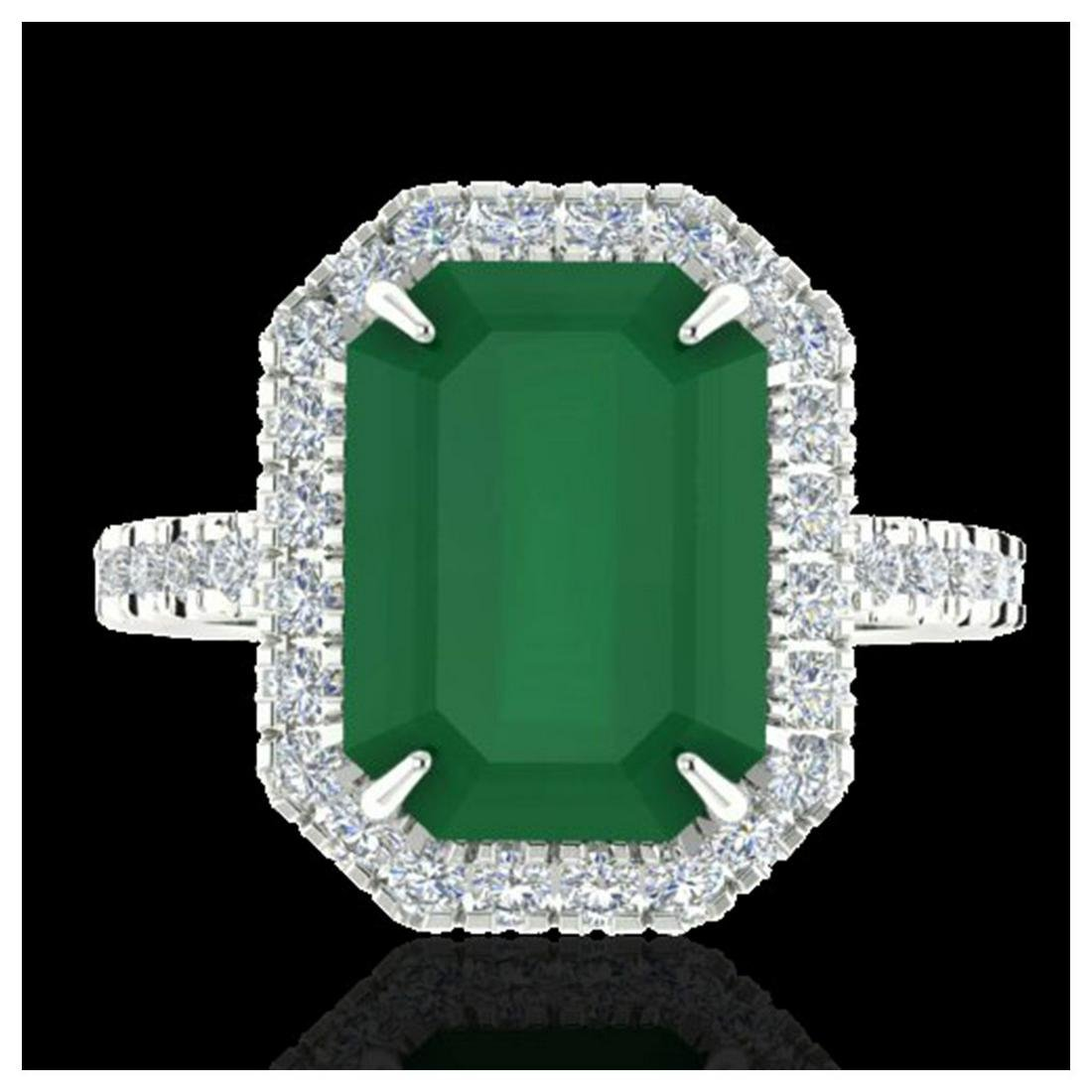 5.33 ctw Emerald And VS/SI Diamond Ring 18K White Gold