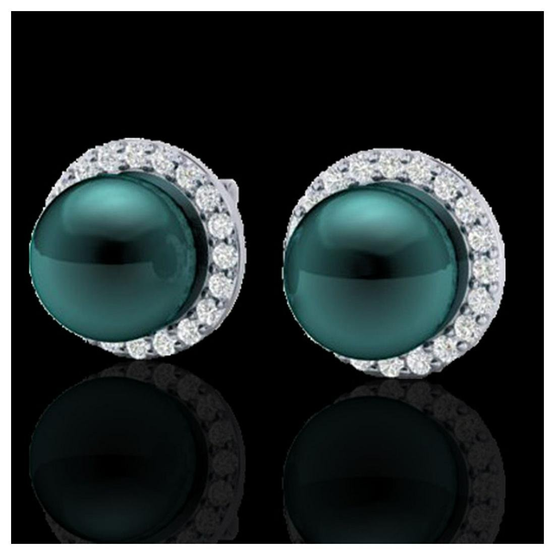 0.50 ctw VS/SI Diamond & Peacock Pearl Earrings 18K