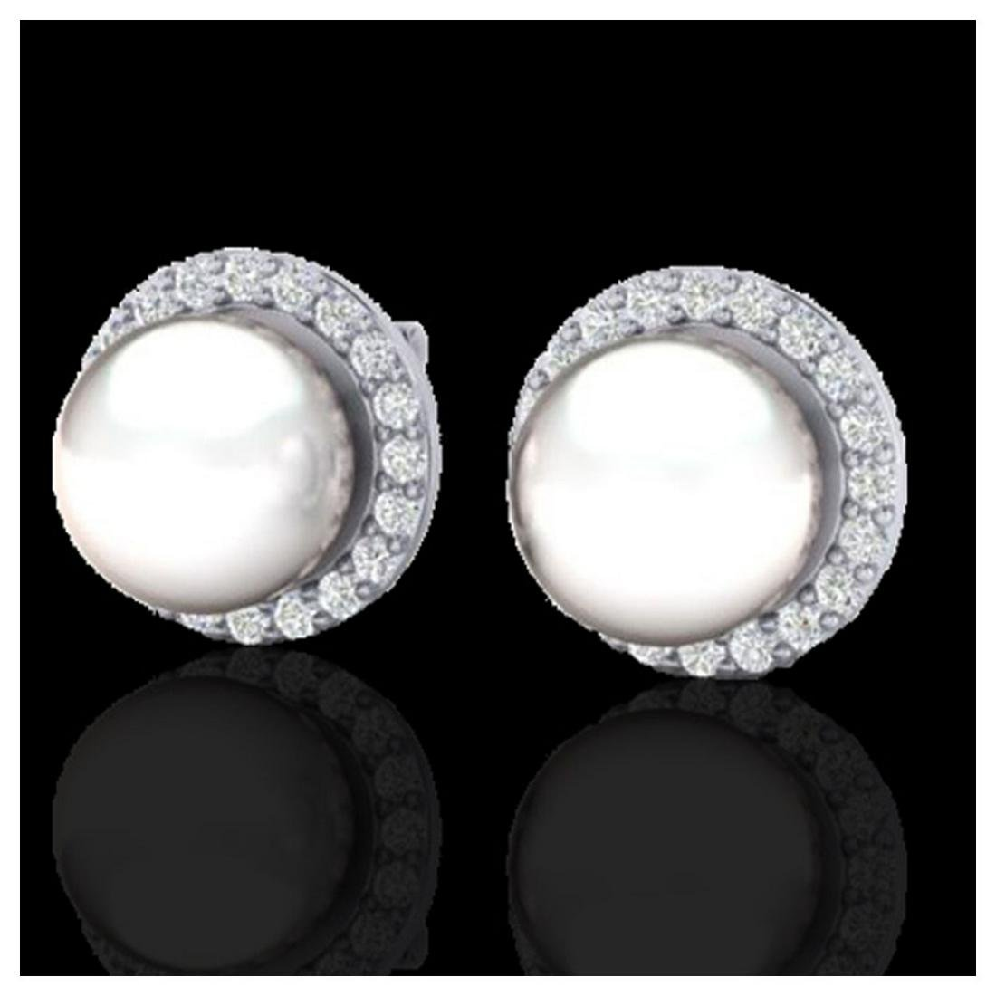 0.50 ctw VS/SI Diamond & Pearl Earrings 18K White Gold
