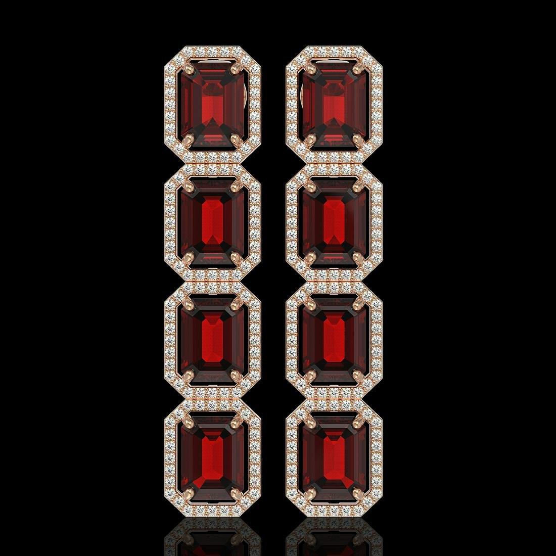 17.8 ctw Garnet & Diamond Halo Earrings 10K Rose Gold -