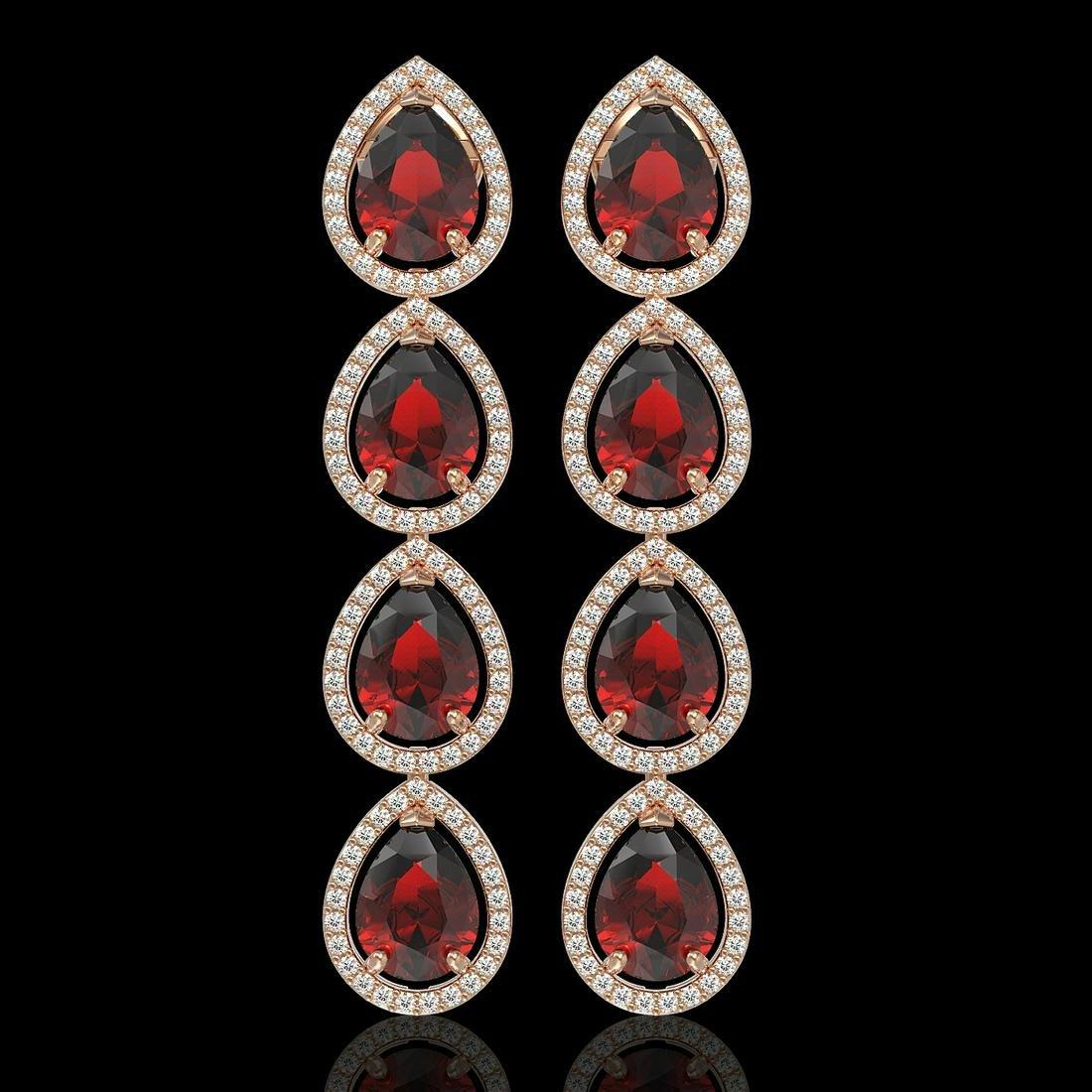 9.25 ctw Garnet & Diamond Halo Earrings Rose 10K Rose