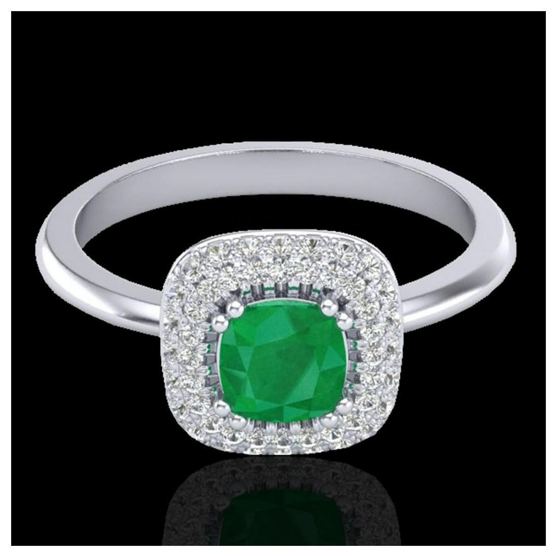 1.16 ctw Emerald & VS/SI Diamond Ring Halo 18K White